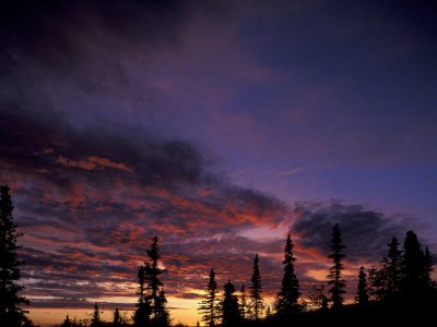 Solstice Sunset atop Midnight Dome, Dawson City, Yukon, Canada