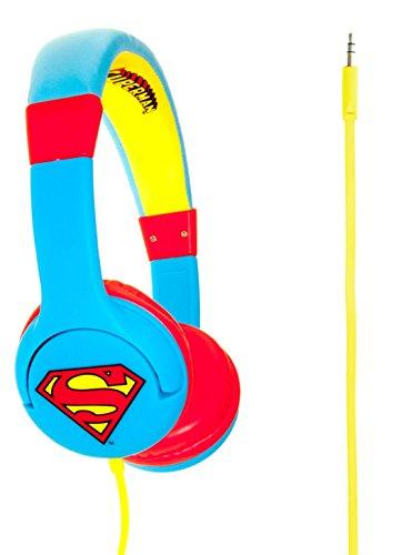 Superman Man of Steel Cuffie Junior con Funzione Limitativa del Volume a 85Db per Bambini di Età 3-7 Anni, Blu/Rosso