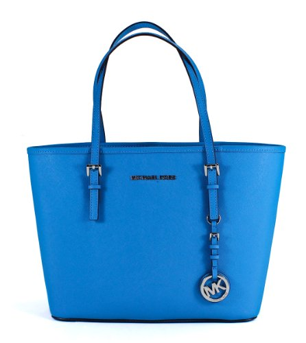 Michael Michael Kors Leather Jet Set Small Travel Tote Purse Handbag Summer Blue