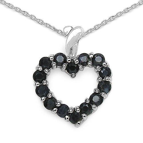 1.12 Carat Genuine Sapphire 925 Sterling Silver Heart Pendant