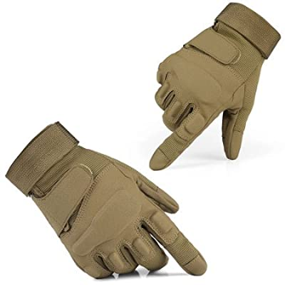 Etrance 1 Pair Breathable Waterproof Full Finger Tactical Gloves with Foam Knuckle Protection for Hunting Climbing Cycling Camel M