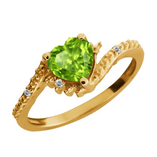 Heart Shape Green Peridot and Topaz Gold Plated Silver Ring Jewelry