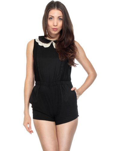 Simplicity Cute Jumpsuit W/ Vintage Style Crocheted Collar, Stretch, Black, S front-845316