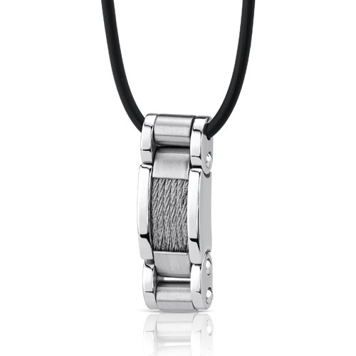Hard-hitting Fashion: Stainless Steel Cable Style Pendant on a Rubber Cord for Men