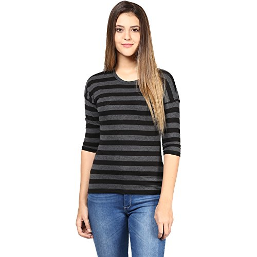 Hypernation-Black-and-Grey-Color-Stripped-T-Shirt-for-Women