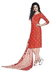 Suchi Fashion Orange & Cream Printed Crepe Dress Material
