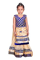 Crazeis Blue and Cream Embroidered lehenga choli and dupatta set for Girls