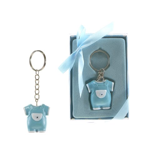"Lunaura Baby Keepsake - Set of 12 ""Boy"" Baby Clothes with Crystal Key Chain Favors - Blue"