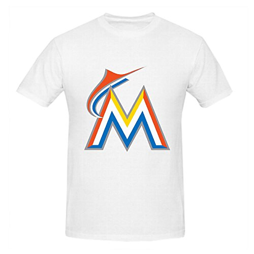 Miami Marlins Crew Neck MLB Authentic Logo T Shirt Men White