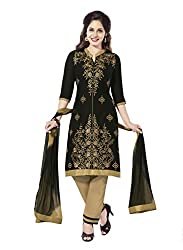 Salwar House Black & Beige Unstitched Cotton Embroidery Dress Material with Dupatta