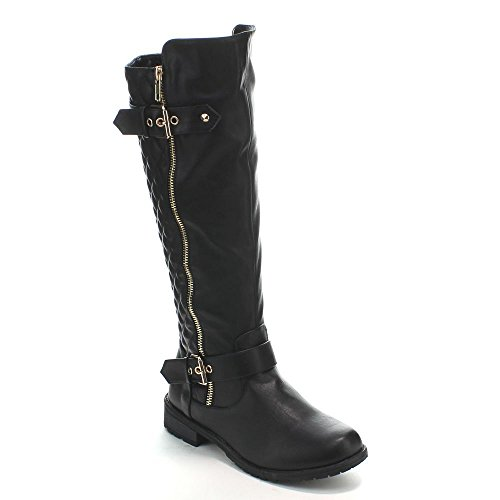 Forever-Mango-21-Womens-Winkle-Back-Shaft-Side-Zip-Knee-High-Flat-Riding-Boots