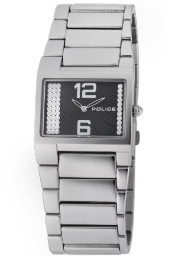Police Ladies Quartz Watch with Black Dial Analogue Display and Silver Stainless Steel Bracelet PL.12695LS/02M