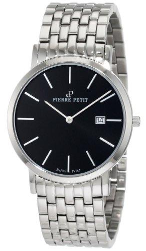 Pierre Petit P-787E - Reloj analógico de cuarzo unisex con correa de acero inoxidable, color plateado