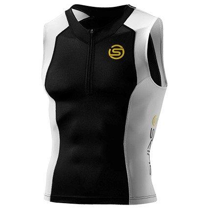 Skins Compression Mens TRI400 Sleeveless Tri Top,Black-White-Yellow,M