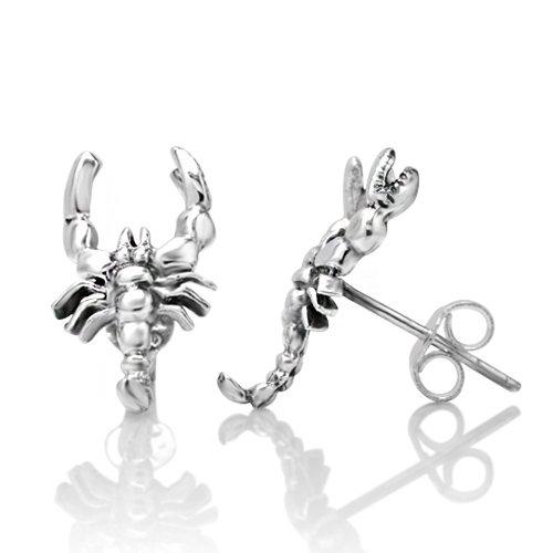 925 Sterling Silver Tiny Scorpion Post Stud Earrings 16 mm Jewelry for Women, Men, Teens - Nickel Free