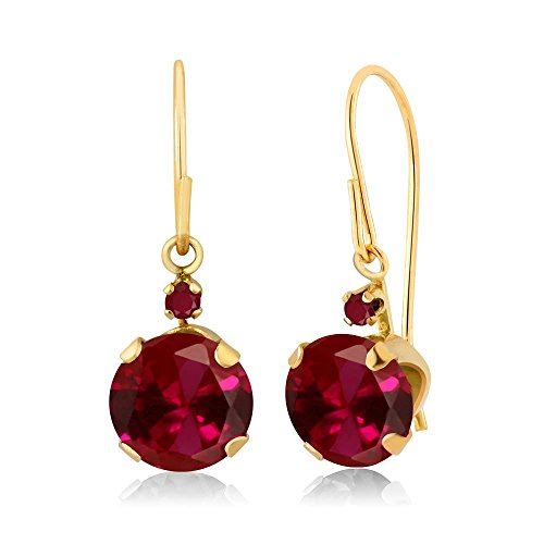 2.04 Ct Round Red Created Ruby Red Ruby 14K Yellow Gold Womrn's Earrings