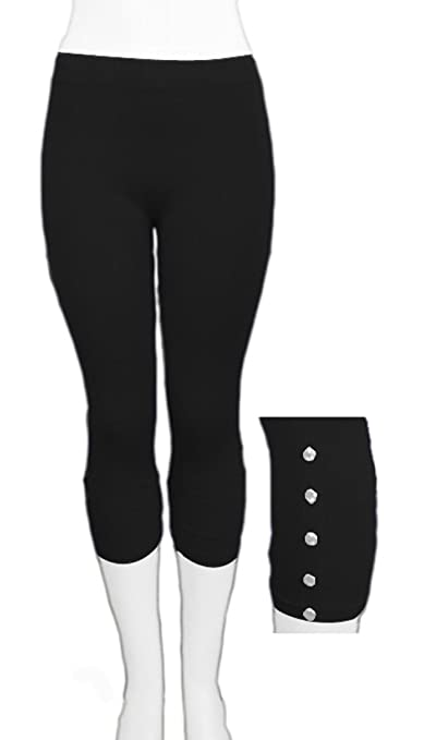 Seamless Capri Legging Stretch Pants With Button Detail