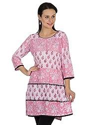 Sohniye Block Printed Cotton Kurta-Pink Color