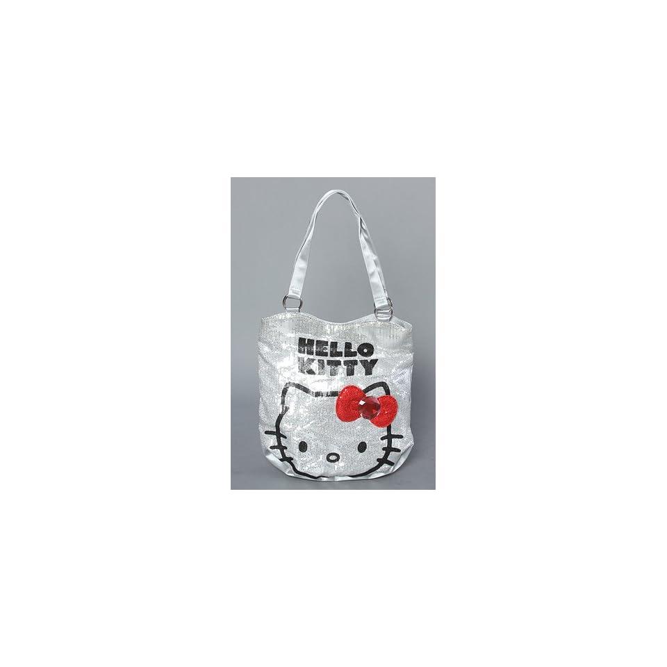 Sanrio Hello Kitty Silver Sequin Red Bow Rhinestone Handbag purse tote