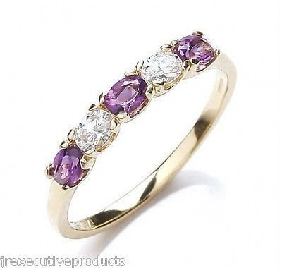 J R Jewellery 406199 9ct Gold Amethyst & Cubic Zirconia Eternity Ring Made With Swarovski Elements
