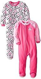 Gerber Little Girls\' 2 Pack Blanket Sleepers,Dalmatian,3T