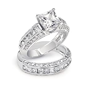 Bling Jewelry Princess Cut CZ 3 Sided Engagement Wedding Ring Set 925 Silver