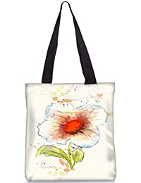 Snoogg Watercolor Floral Background Vector Illustration Fashion Printed Shopping Shoulder Lunch Tote Bag For Women