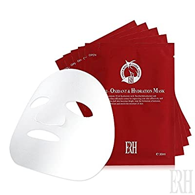 Anti-oxidant & Hydration Facial Sheet Masks ¡V Hydrate, moisturize & rejuvenate your skin at home / during travel. Box of 5 individually wrapped & disposable facial treatment for all skin types ¡K