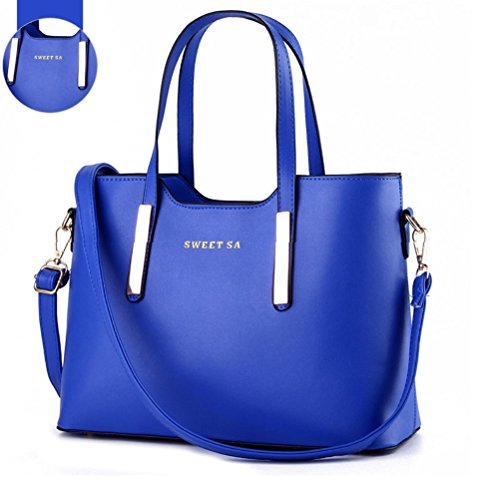 Fashion Road Genuine Leather Womens Shoulder Bags Top-Handle Handbag Tote Purse Bag Royal Blue (Amazon Purses compare prices)