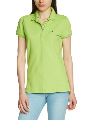 Hilfiger Denim Damen Poloshirt Slim Fit LAURA POLO S/S / 1657624009, Gr. 38 (8) (L), Grün (332 SAP GREEN)