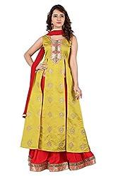 BanoRani Mehendi Green & Red Color Silk Jacquard Self Design with Zari & Lace work Unstitched Lehenga Choli (Sharara)