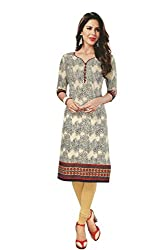 PShopee Off White Cotton Printed Unstitched Kurti/Top Material