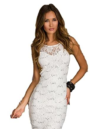 Sexy bodycon lace sleeveless sequin evening party midi for Ray donovan white dress shirt brand