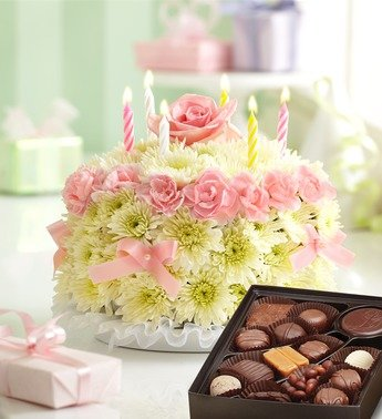 1800Flowers - Birthday Flower Cake Pastel - with Chocolate