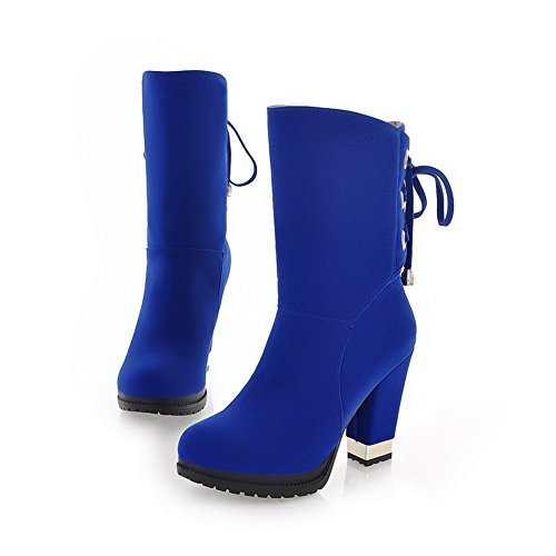 BeautyLover Womens Closed Round Toe High Heels Solid PU Frosted Short Plush Boots with Platform