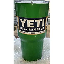 Yeti Rambler 30 Oz, Stainless Steel, Powder-coated, Custom Colors (Emerald Green)