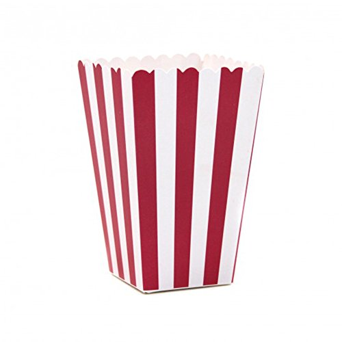 A & A Worldwide Small Paper Popcorn Treat Boxes, Red White Striped, Pack of 12 (Popcorn Red White compare prices)
