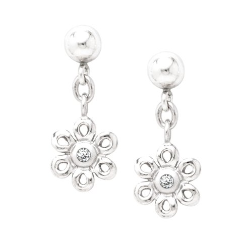 Sterling Silver Diamond Daisy Drop Earrings