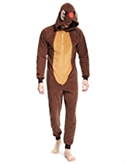 Hooded Reindeer Design Fleece Onesie