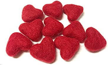Yarn Place Felt Wool Felted Sculpted Hearts 10 Pieces 1 Color 30mm 3cm Red