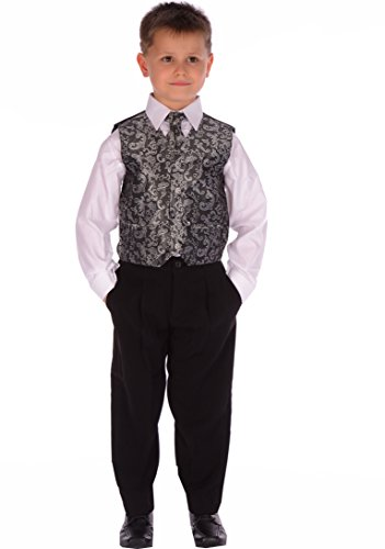 4-Piece-Boys-Black-and-Silver-Paisley-Suit