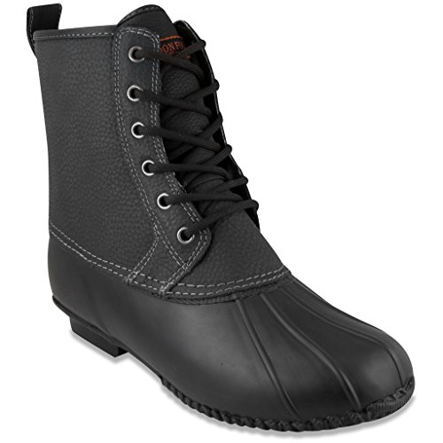 London Fog Mens Sutton Cold Weather Duck Boot Black Pebbled  12 B(M) US (Neoprene Rain Boot Liners compare prices)