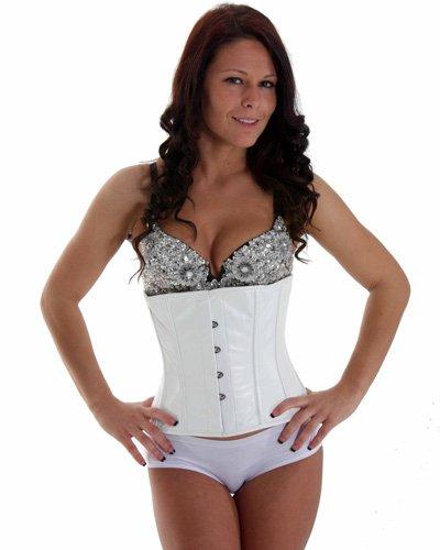 SC80011G White Leather Victorian Vintage Shaper Corset Boned Lace Up Underbust corset girdle Waist training Cincher
