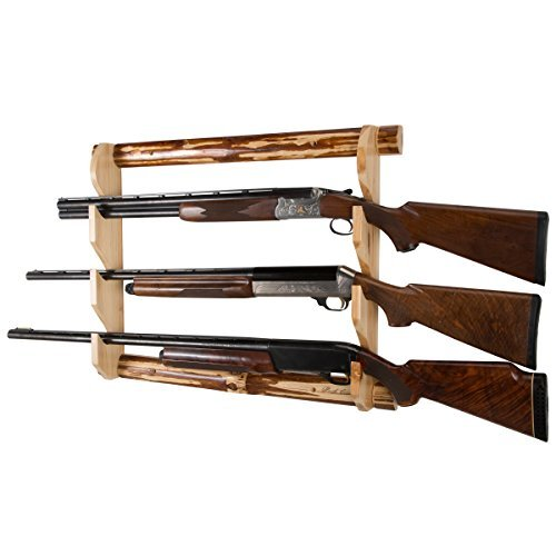 Rush Creek Creations Rustic Log 3 Gun Wall Mounted Storage Rack (Gun Rack Wood compare prices)