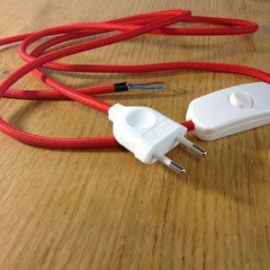 kit fil rouge textile 180cm prise et fiche blanches luminaires et eclairage. Black Bedroom Furniture Sets. Home Design Ideas