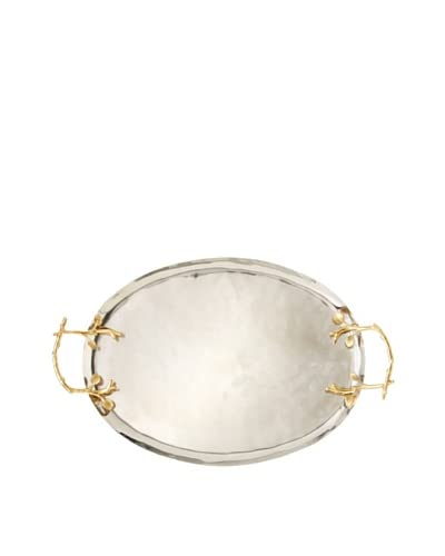 Oval Tray with Gold Grape Leaf Handles, Silver/Gold As You See