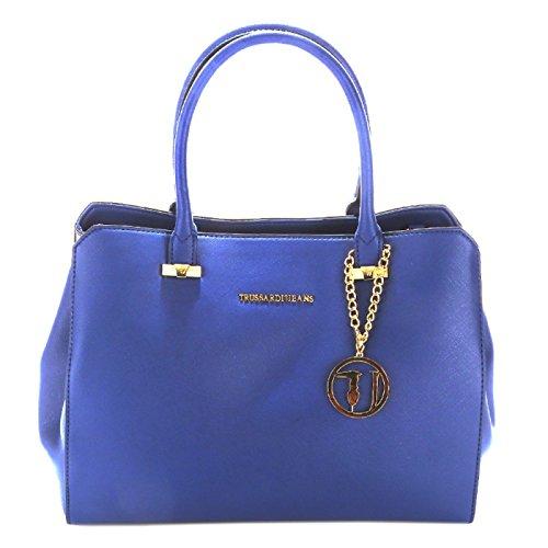 trussardi-jeans-by-trussardi-damen-schultertasche-blau-blau