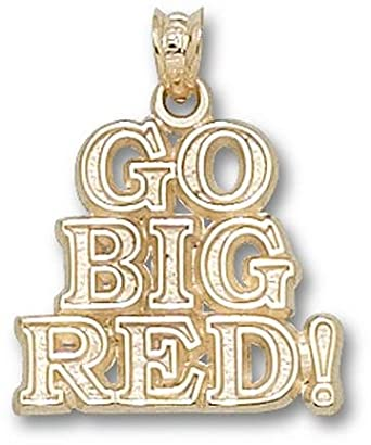 Indiana Hoosiers Go Big Red Pendant - 14KT Gold Jewelry by Logo Art