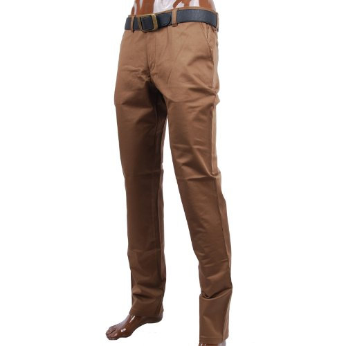FLATSEVEN Mens Slim Fit Chino Pants Trouser Premium Cotton (CH101) Brown, Size XL