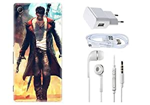 Spygen SONY XPERIA Z4 Case Combo of Premium Quality Designer Printed 3D Lightweight Slim Matte Finish Hard Case Back Cover + Charger Adapter + High Speed Data Cable + Premium Quality Handfree